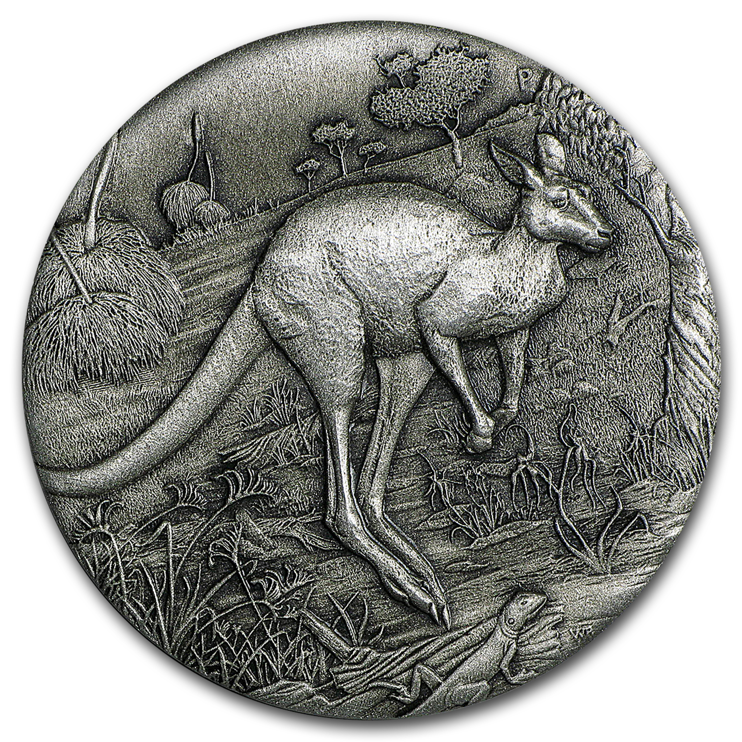 2016 Australia 2 oz Silver High Relief Kangaroo Proof (Antiqued)