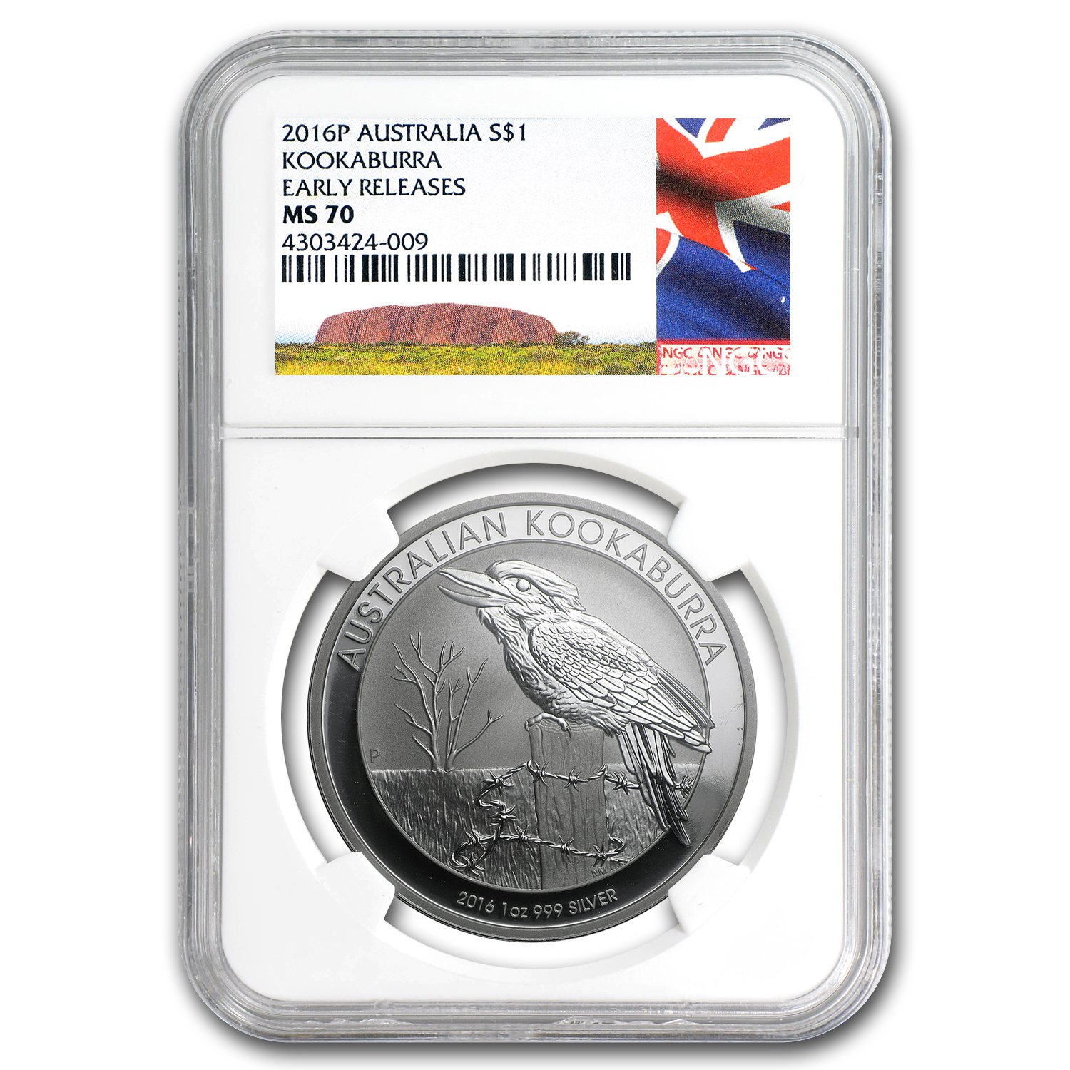 2016 Australia 1 oz Silver Kookaburra MS-70 NGC (Early Release)