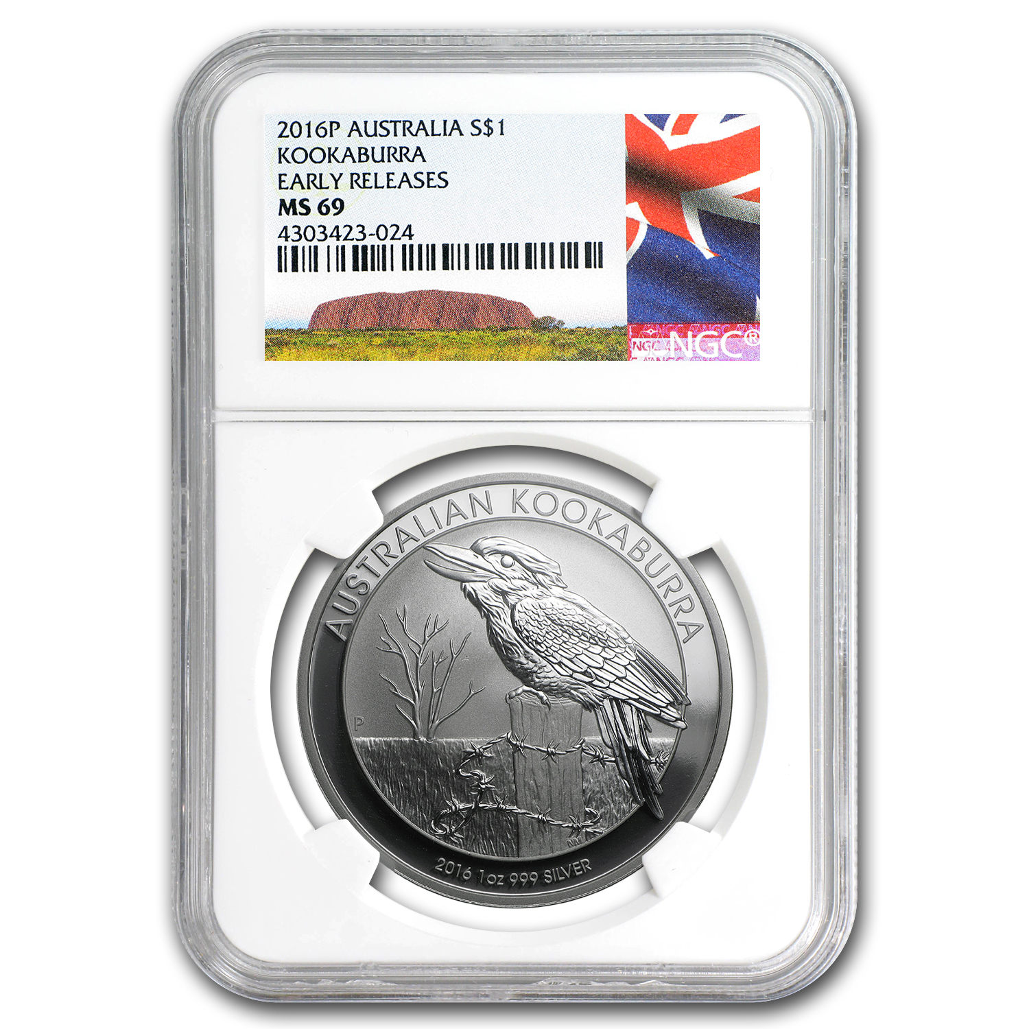 2016 Australia 1 oz Silver Kookaburra MS-69 NGC (Early Release)