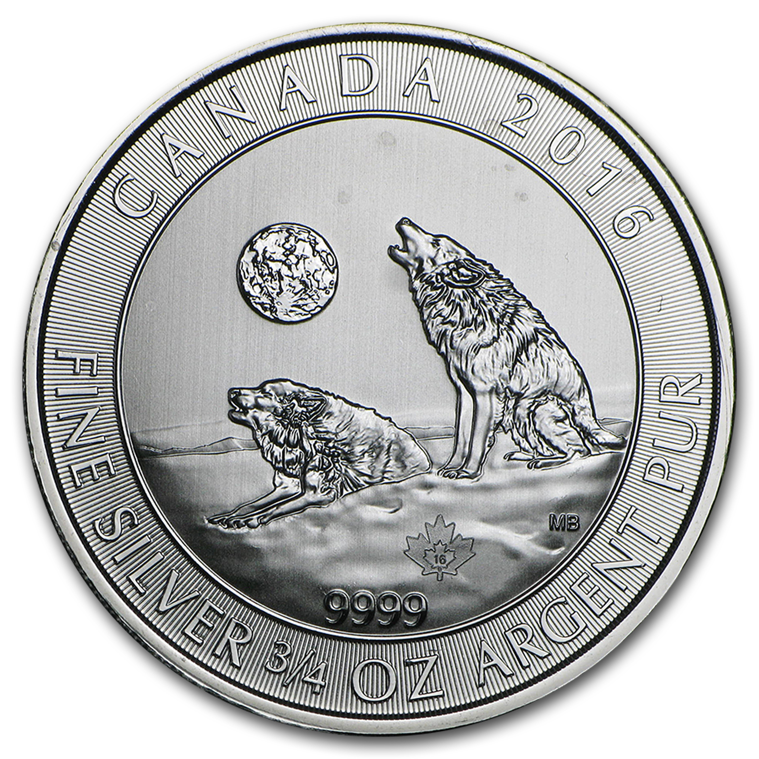 2016 Canada 3/4 oz Silver Howling Wolves (Cull/Abrasions)