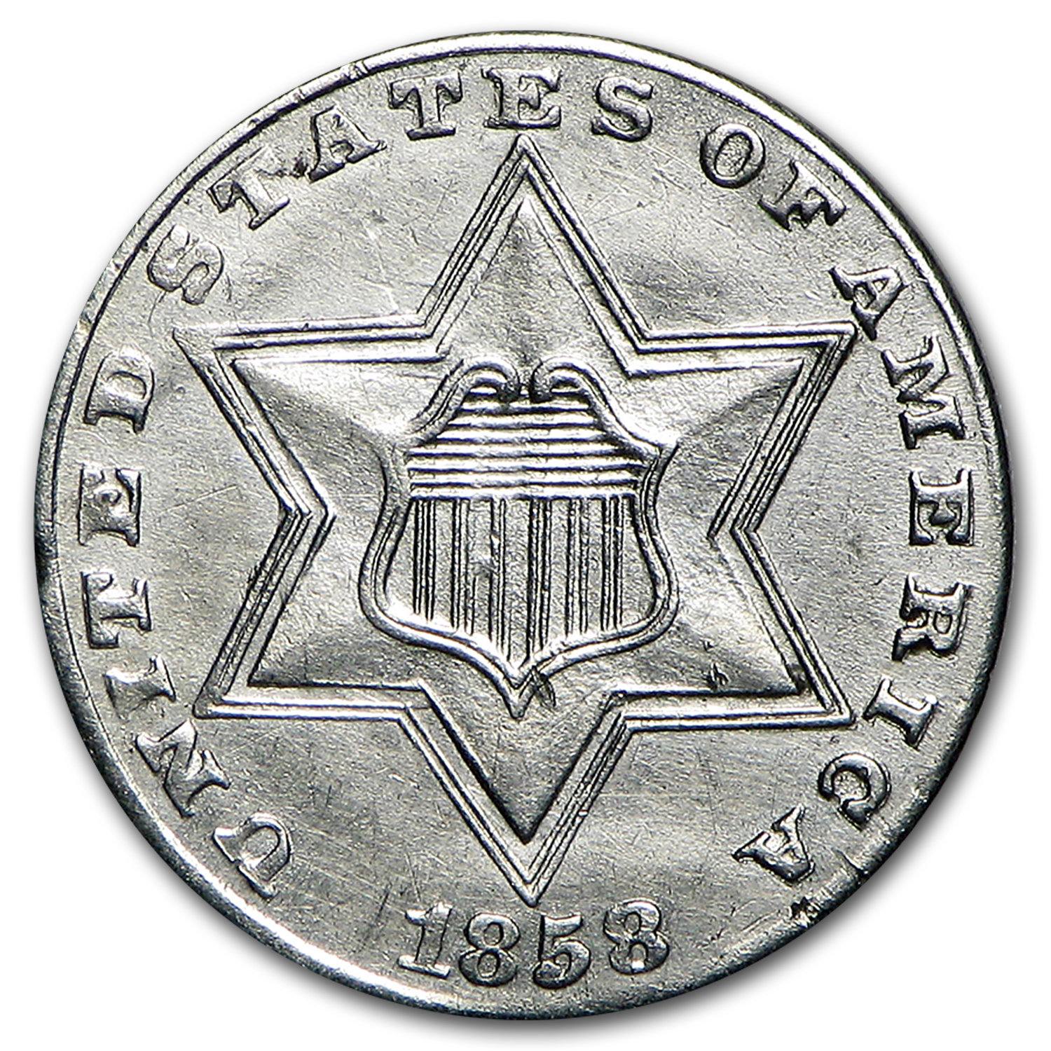 1858 Three Cent Silver AU