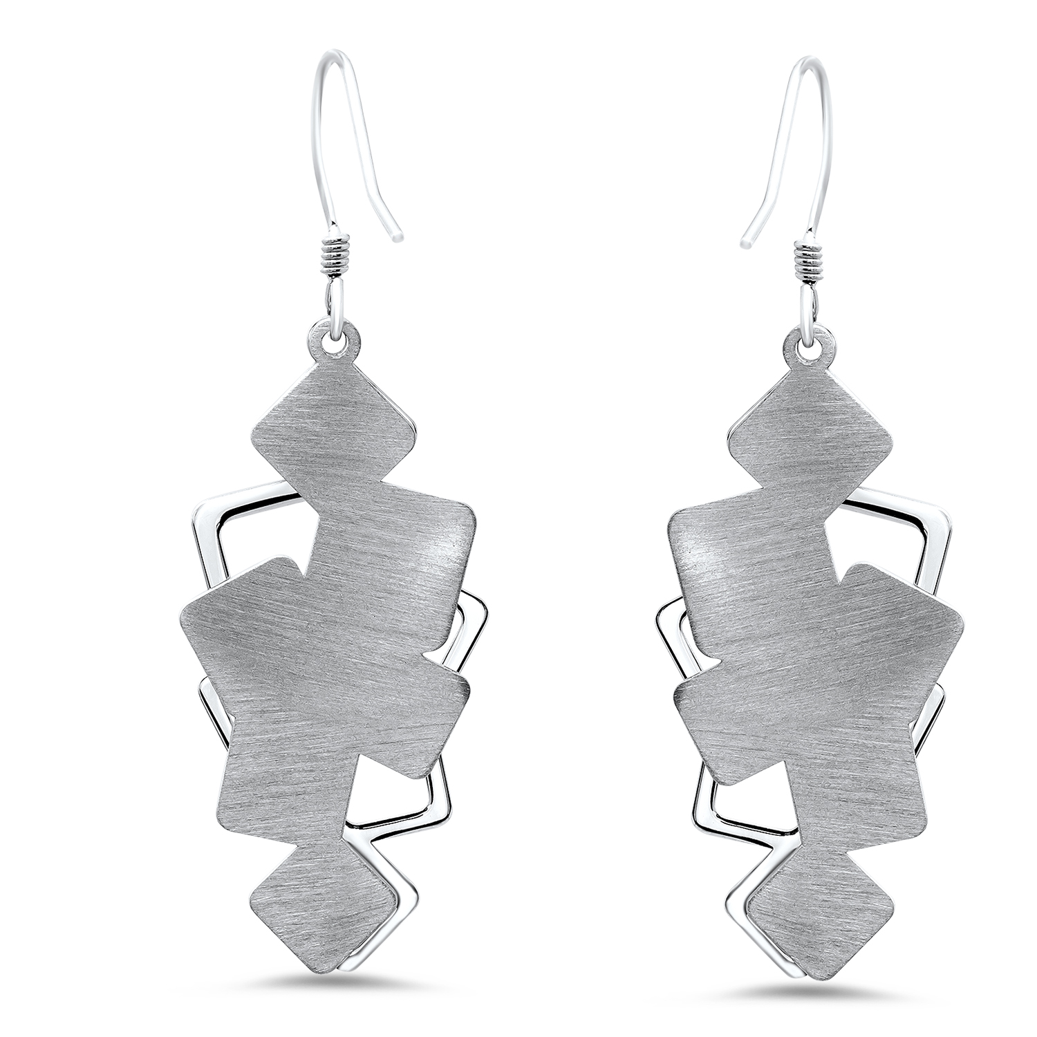 Sterling Silver Textured Polished Brushed Cut-Out Dangle Earrings