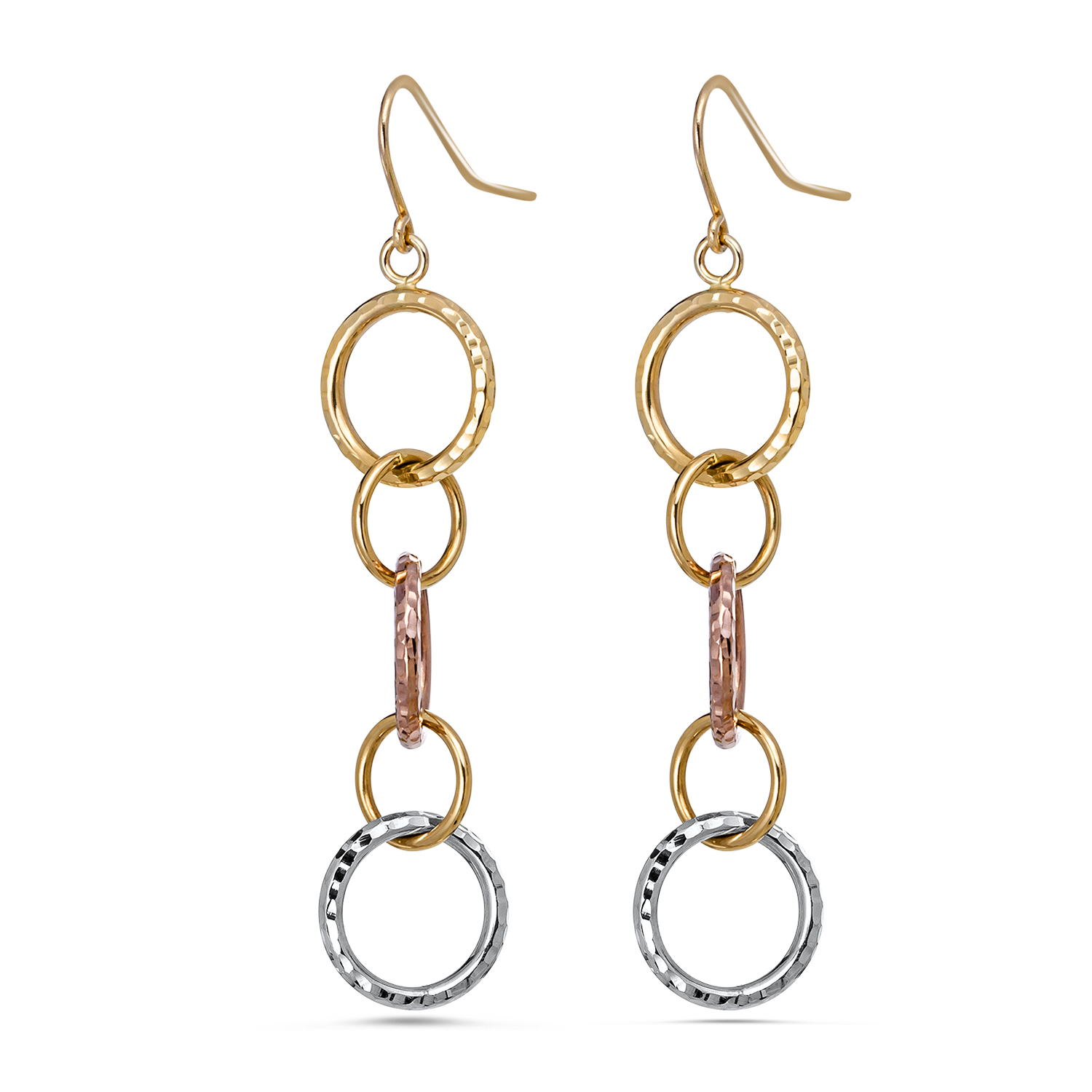 14k Gold Tri-Color Diamond Cut Circle Dangle Earrings