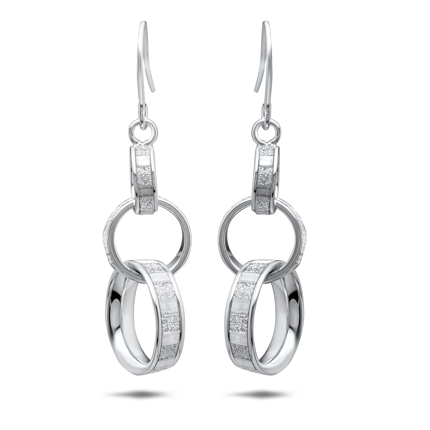 14k White Gold Glimmer Infused Dangle Earrings