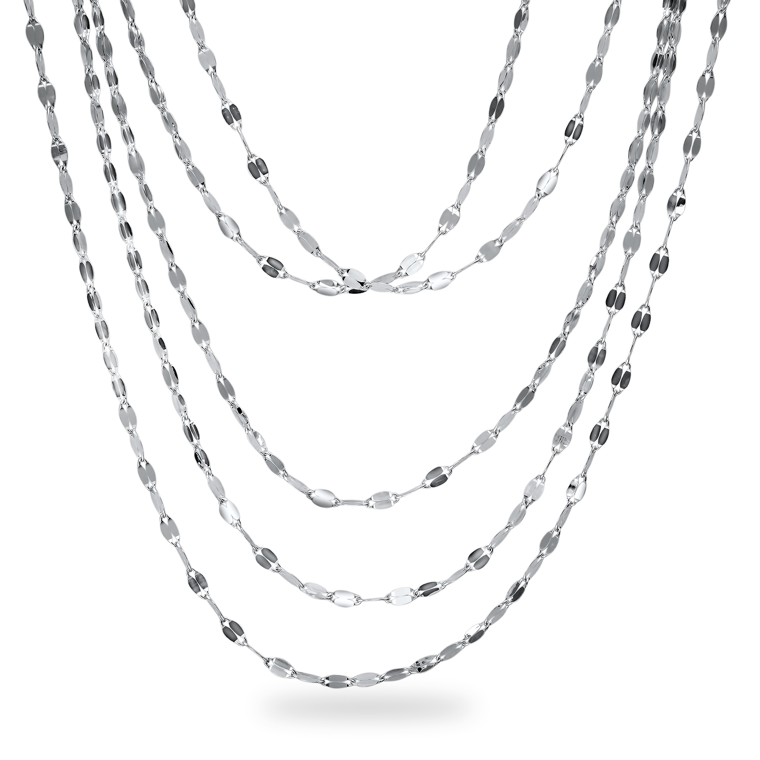 "Sterling Silver 5 Strand Fancy Flat Link 17"" Necklace"