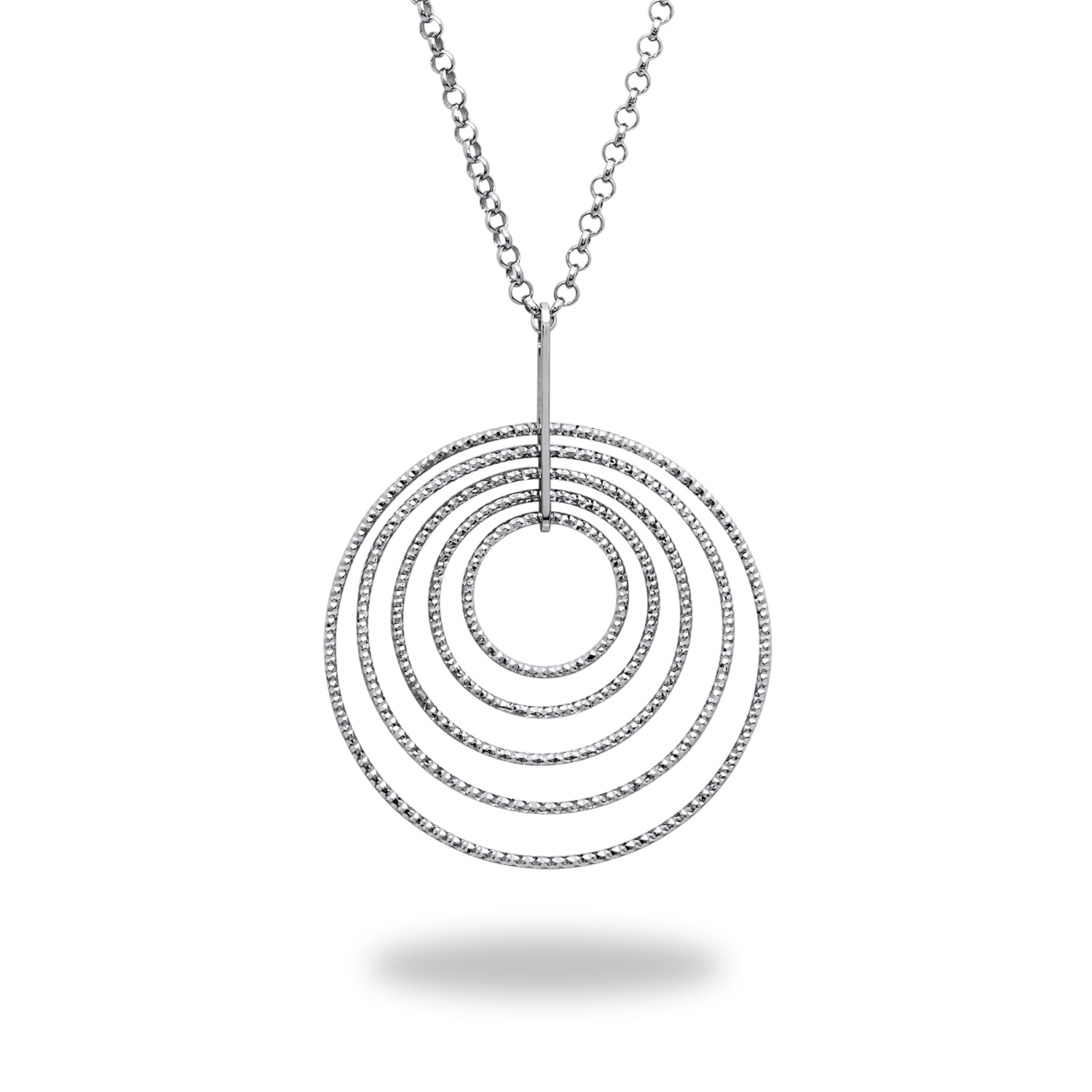 "Sterling Silver Dangle Diamond-Cut Circle 18"" Necklace"