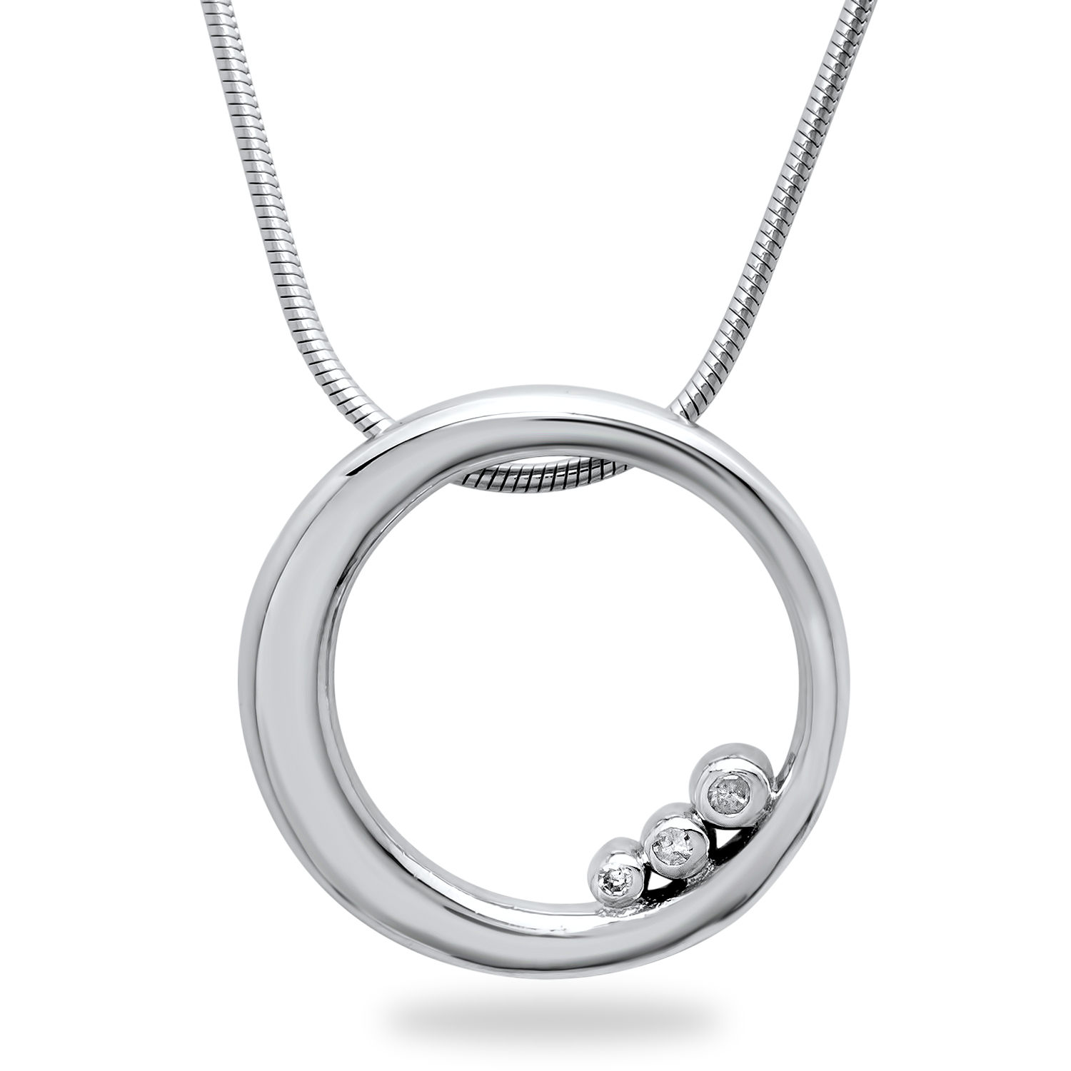 "Sterling Silver Single Ring 18"" Necklace w/Diamond Accents"