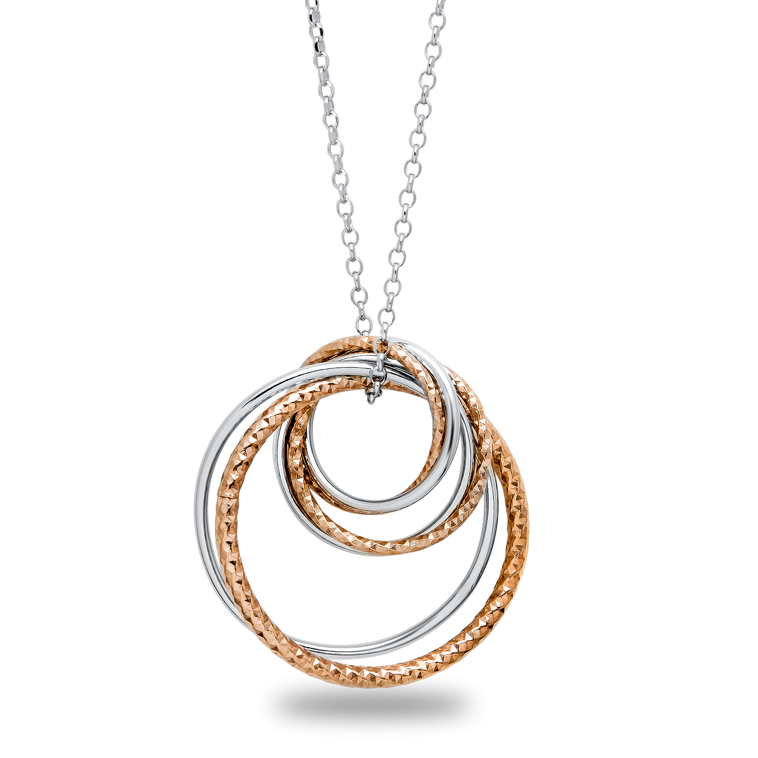 Sterling Silver Rose-Tone Flash Plated Necklace