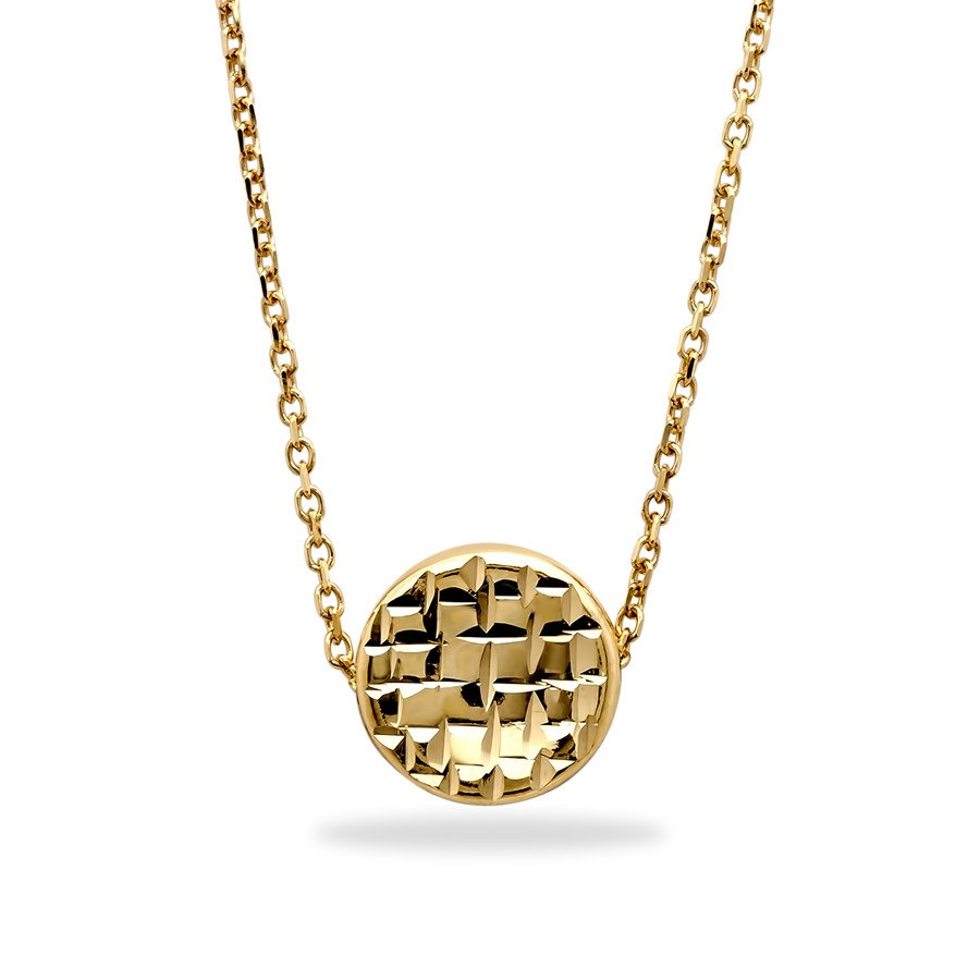14k gold polished diamond cut round necklace gold for What is gold polished jewelry