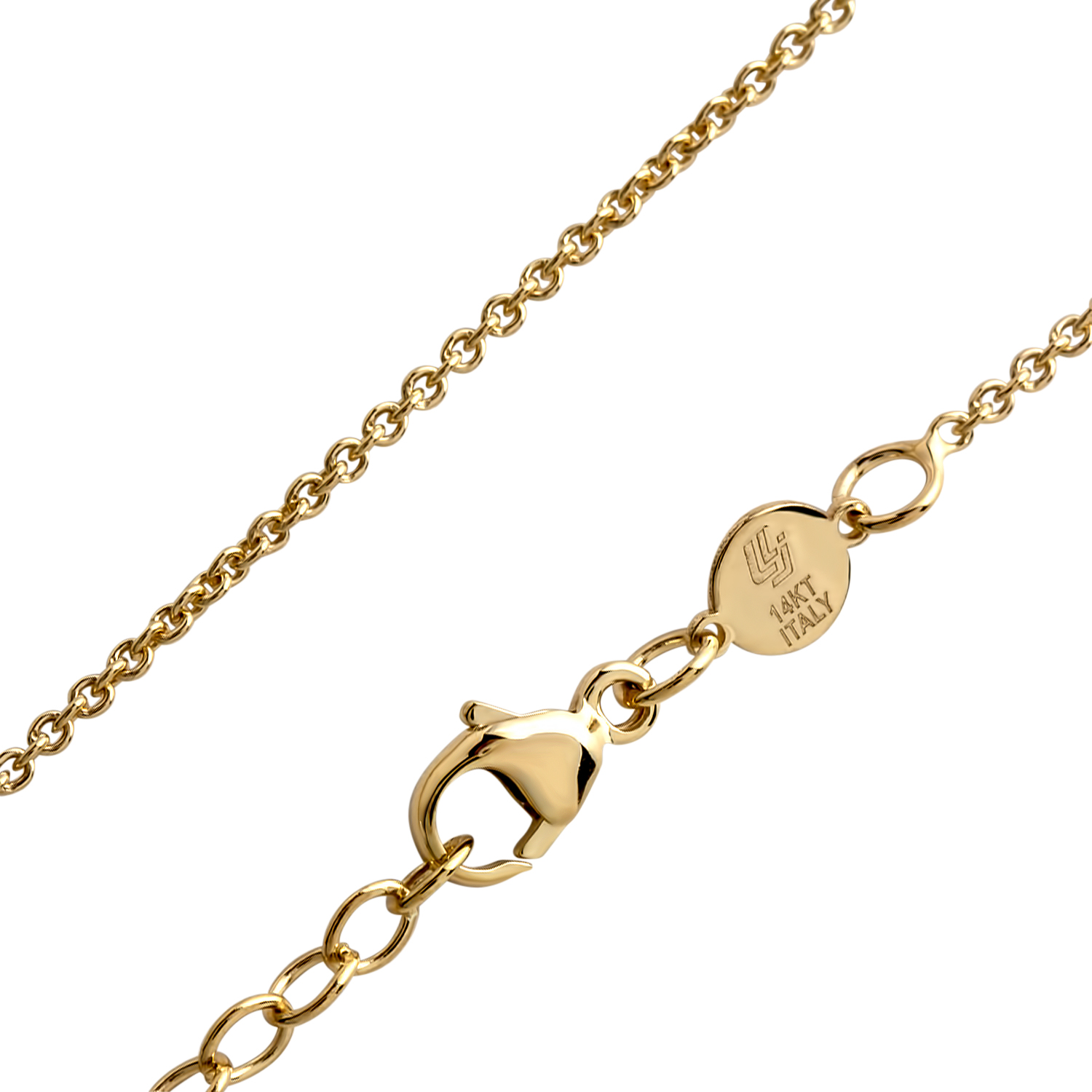 14k Gold Polished and Scratch Finish Circle Necklace
