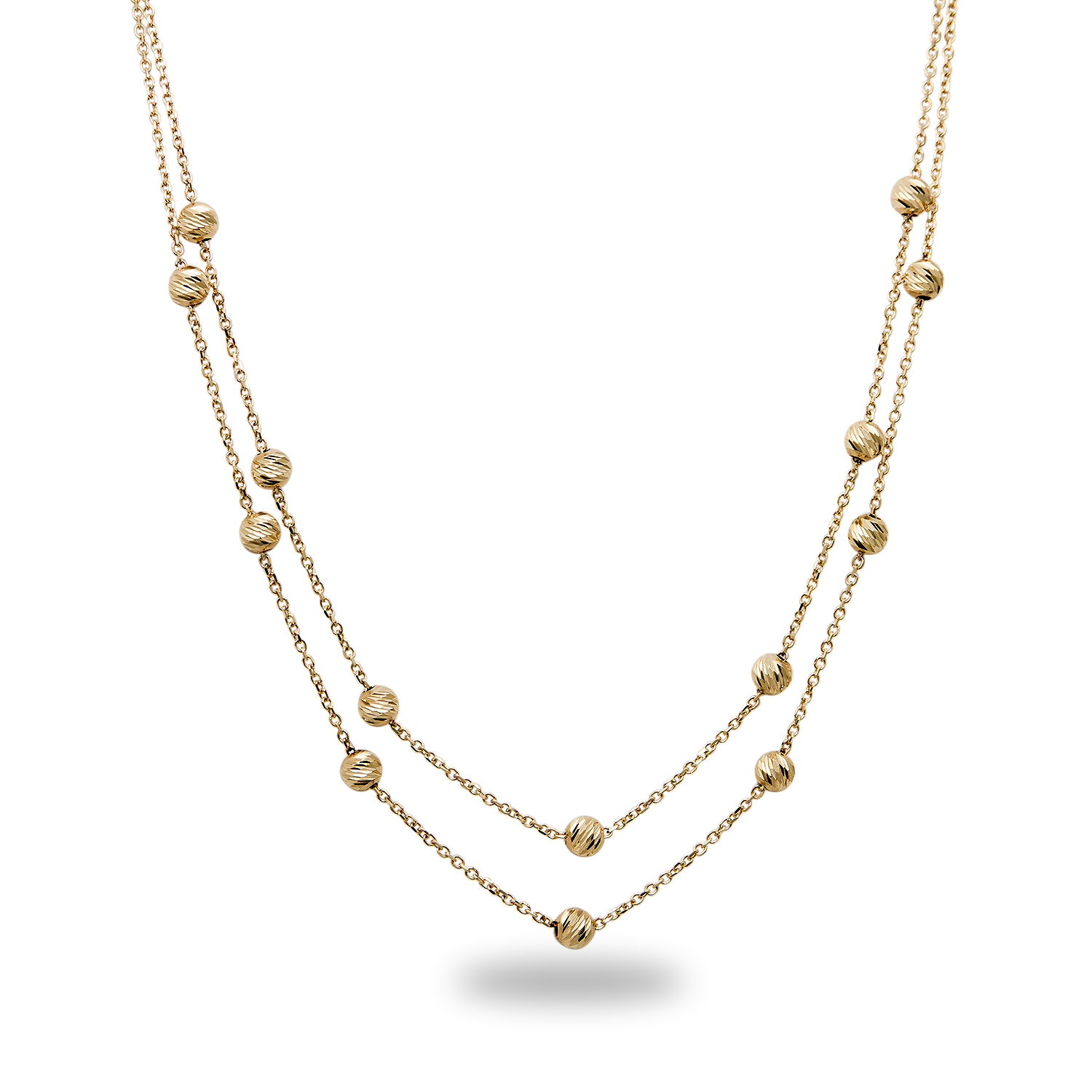 "14k 17"" Gold Diamond-Cut Beaded Necklace"