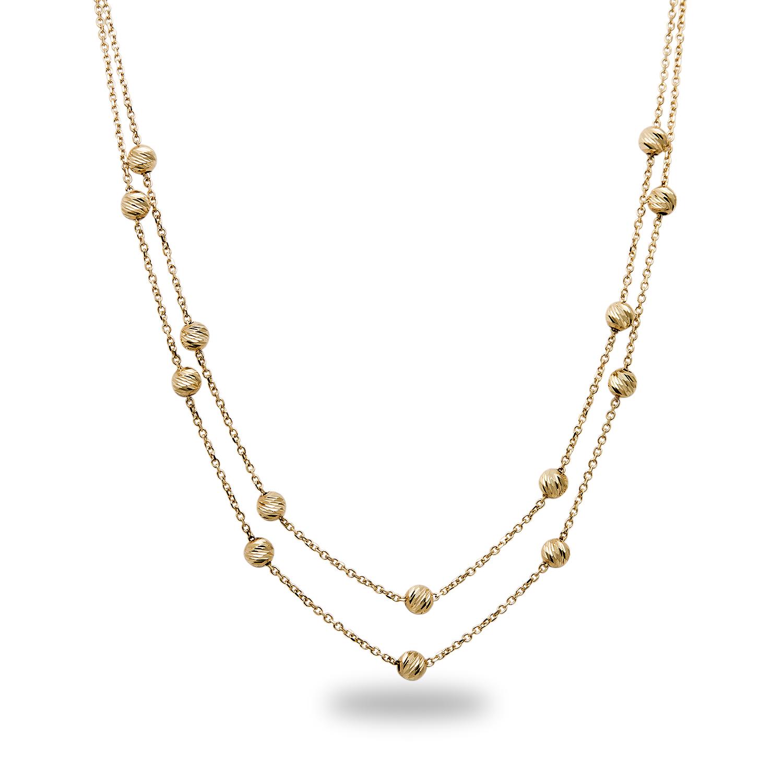 "Beaded Diamond: 14k 17"" Gold Diamond-Cut Beaded Necklace"