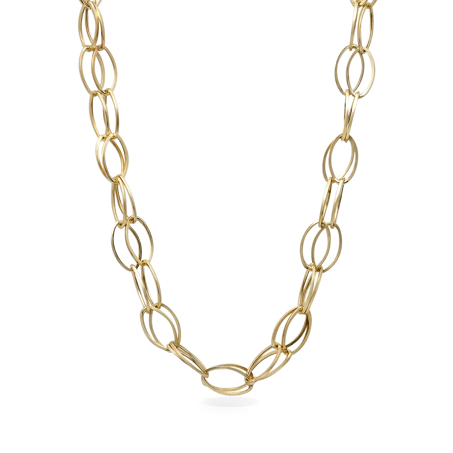 14k Gold Double Strand Oval Link Necklace