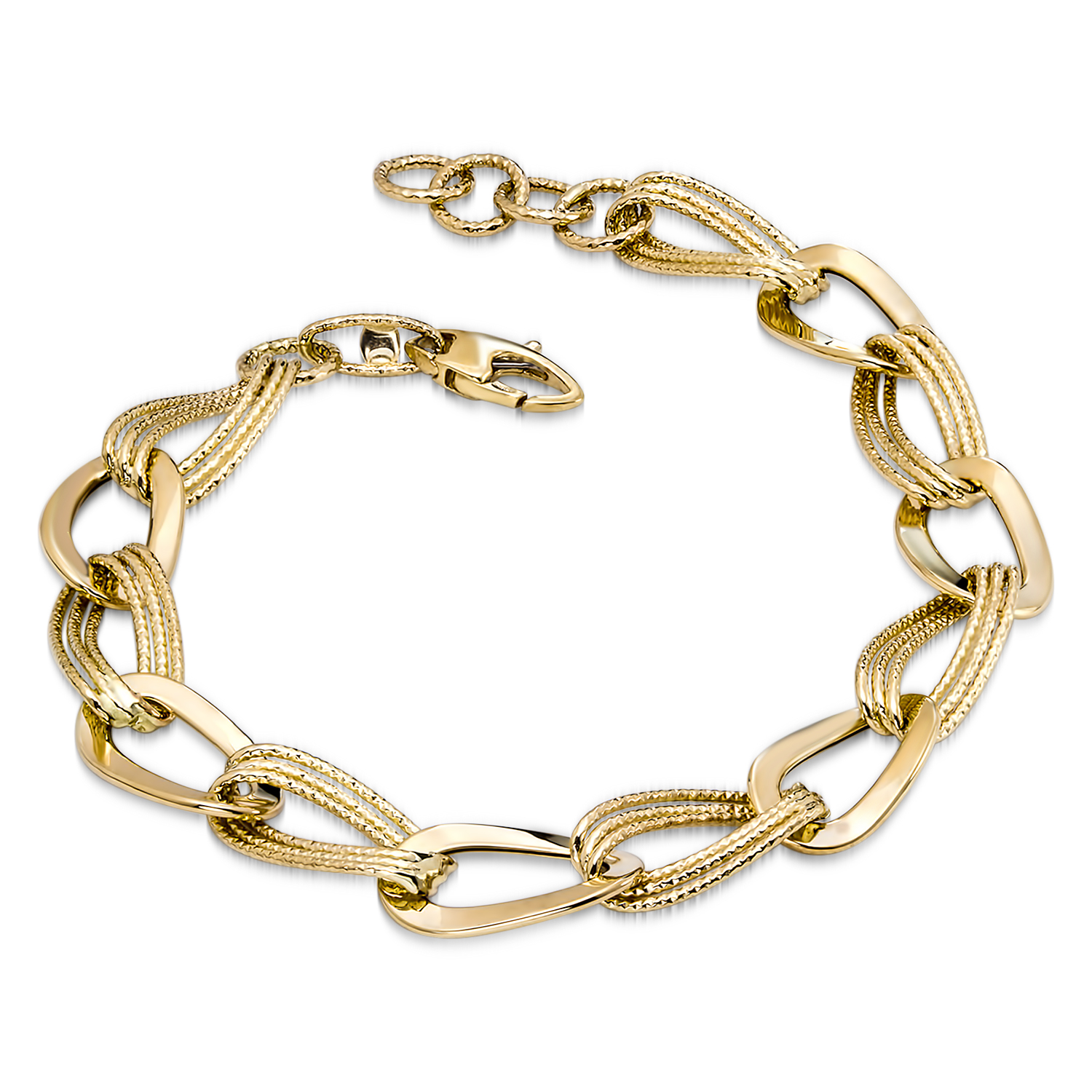 14k Gold Polished & Textured Hollow Bracelet