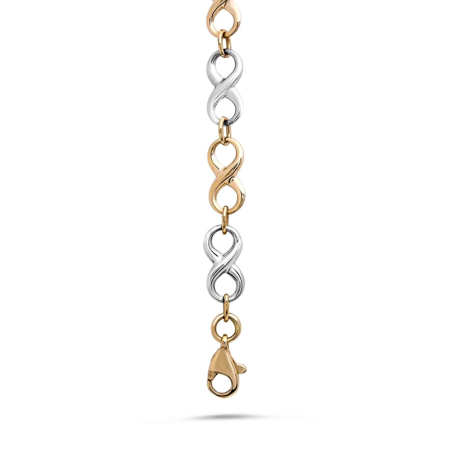 14k Gold Two-Tone Polished Bracelet
