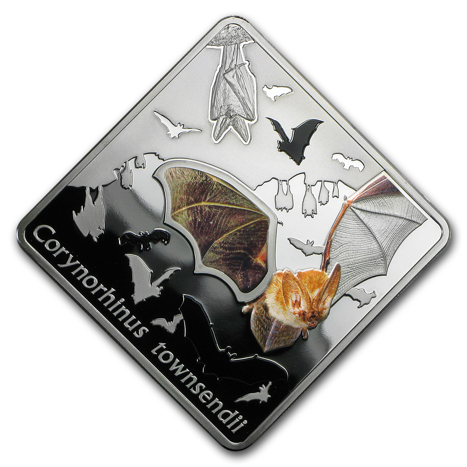 2016 Palau Silver Animals in Glass (The Bat)