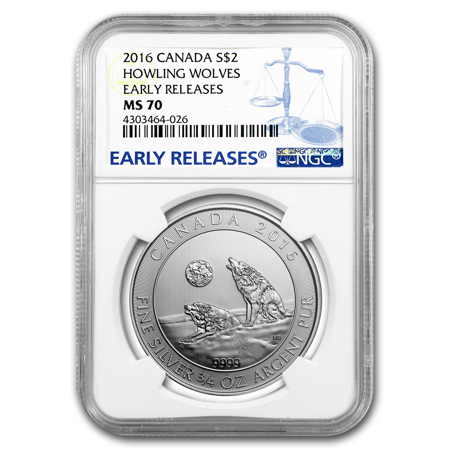 2016 Canada 3/4 oz Silver Howling Wolves MS-70 NGC (ER)