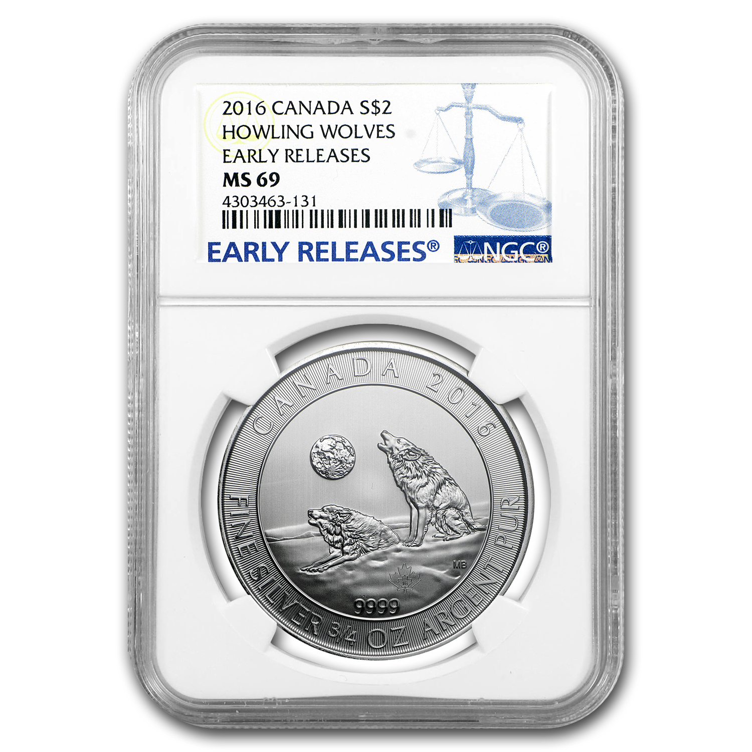 2016 Canada 3/4 oz Silver Howling Wolves MS-69 NGC (ER)