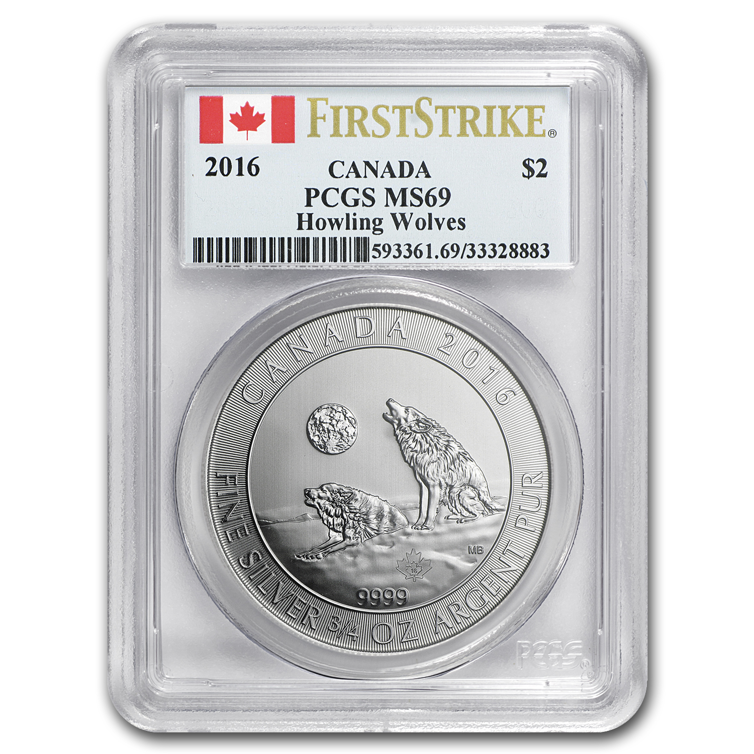 2016 Canada 3/4 oz Silver Howling Wolves MS-69 PCGS (FS)