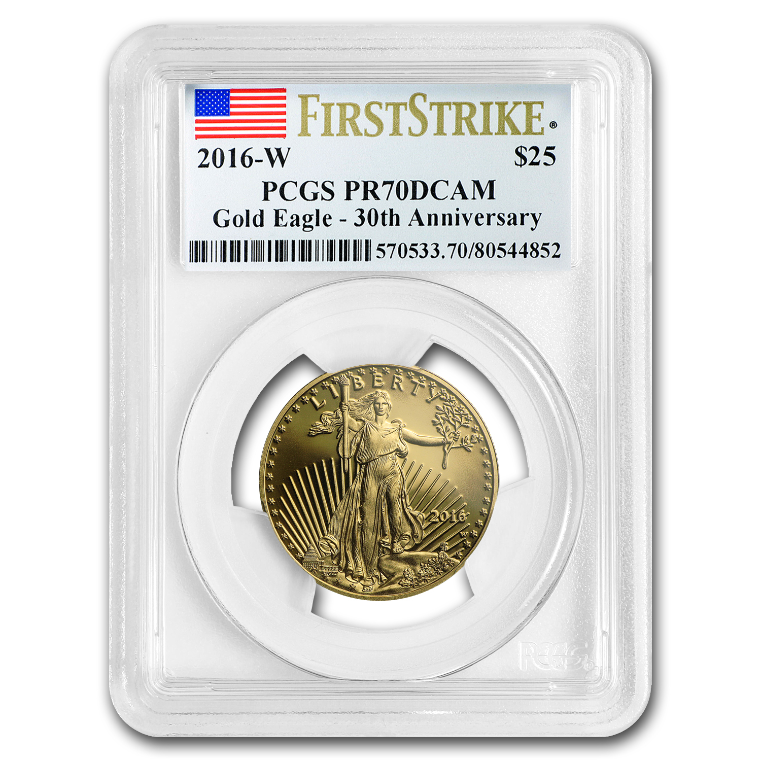 2016-W 1/2 oz Proof Gold American Eagle PR-70 PCGS (First Strike)