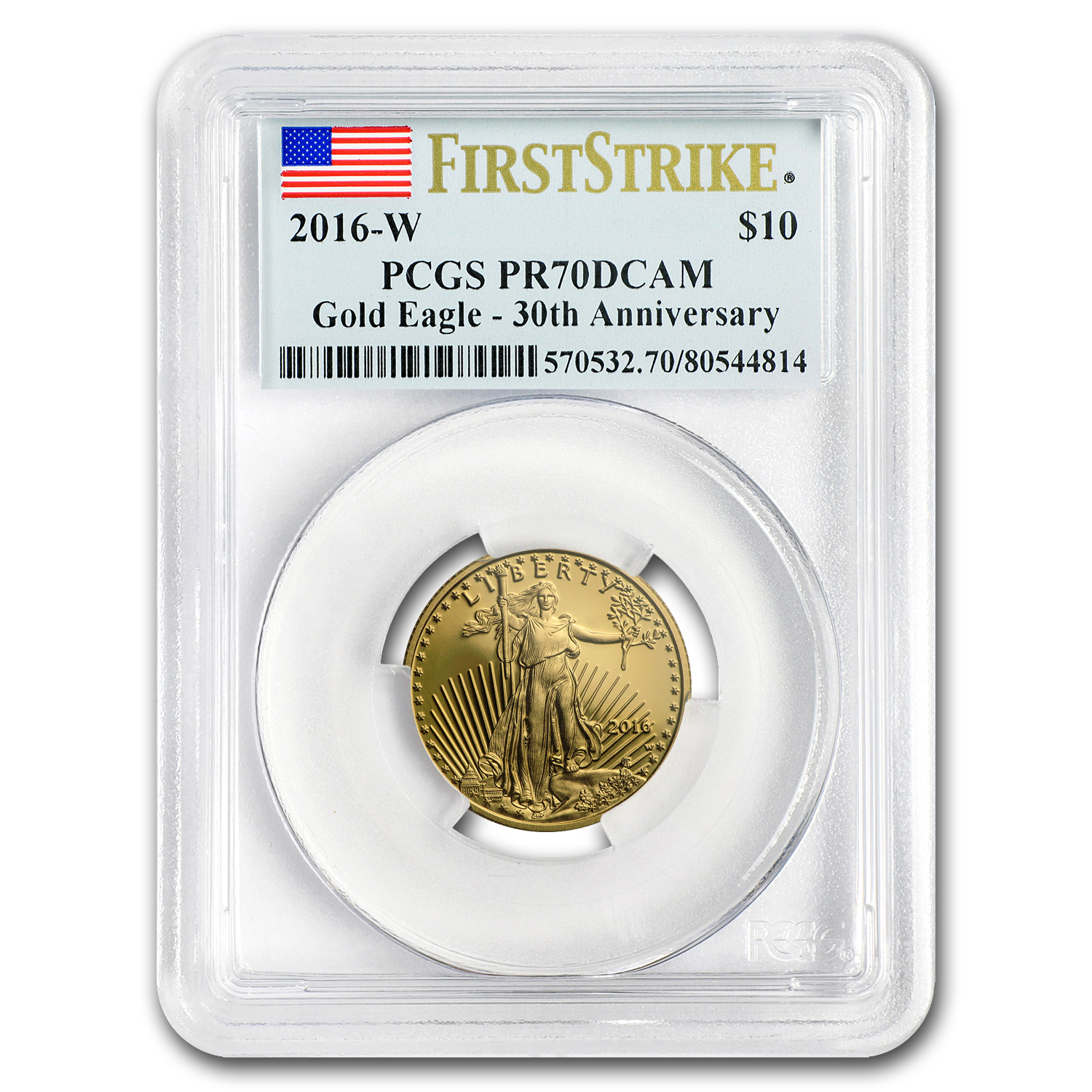 2016-W 1/4 oz Proof Gold American Eagle PR-70 PCGS (First Strike)