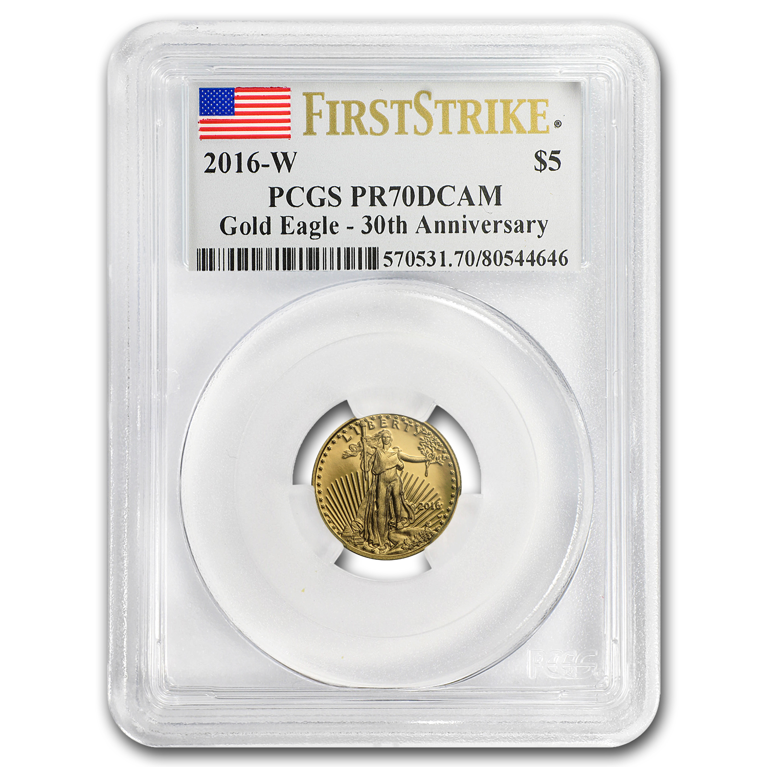 2016-W 1/10 oz Proof Gold American Eagle PR-70 PCGS (FS)