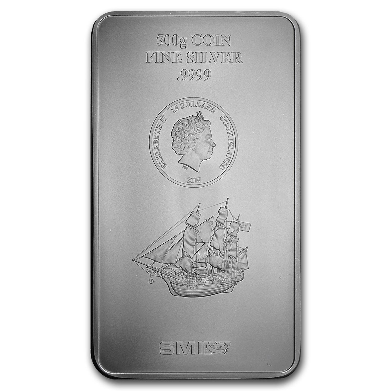 2015 500 Gram Silver Cook Islands Bounty Coin Bar 9999