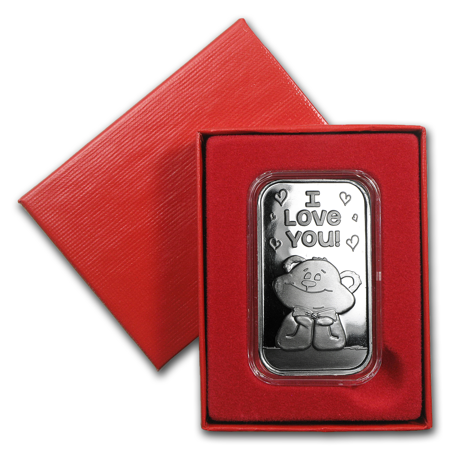 1 oz Silver Bar - I Love You Bear (w/Box & Capsule)