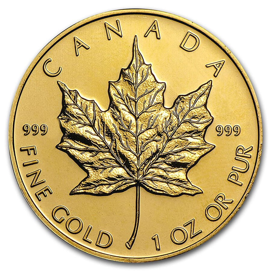 Canada 1 oz Gold Maple Leaf .999 Fine (Random Year)