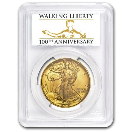 2016 W 1 2 Oz Gold Walking Liberty Half Dollar Sp 70 Pcgs