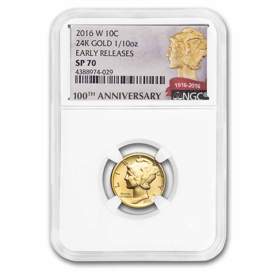 2016-W 1/10 oz Gold Mercury Dime SP-70 NGC (ER)