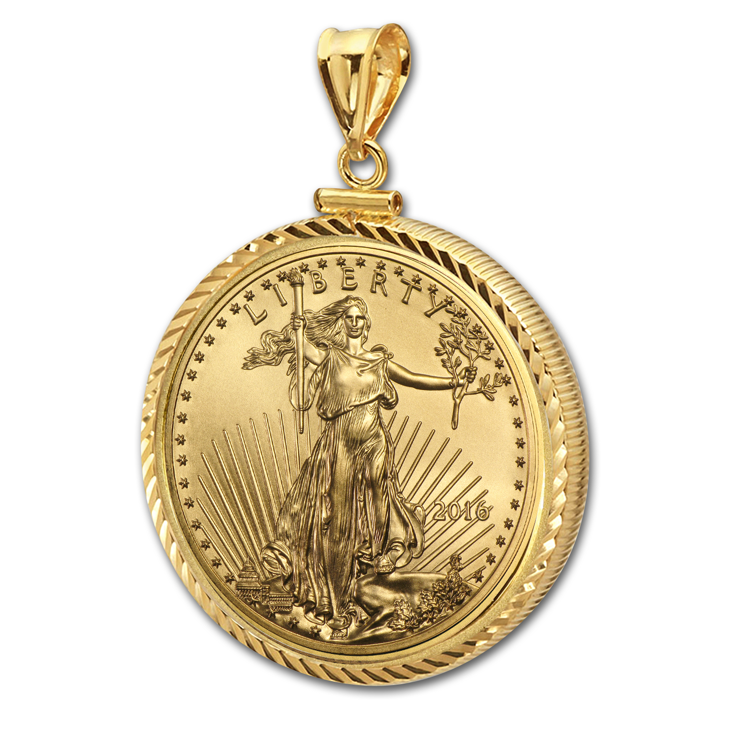 2016 1/10 oz Gold Eagle Pendant (Diamond-ScrewTop Bezel)
