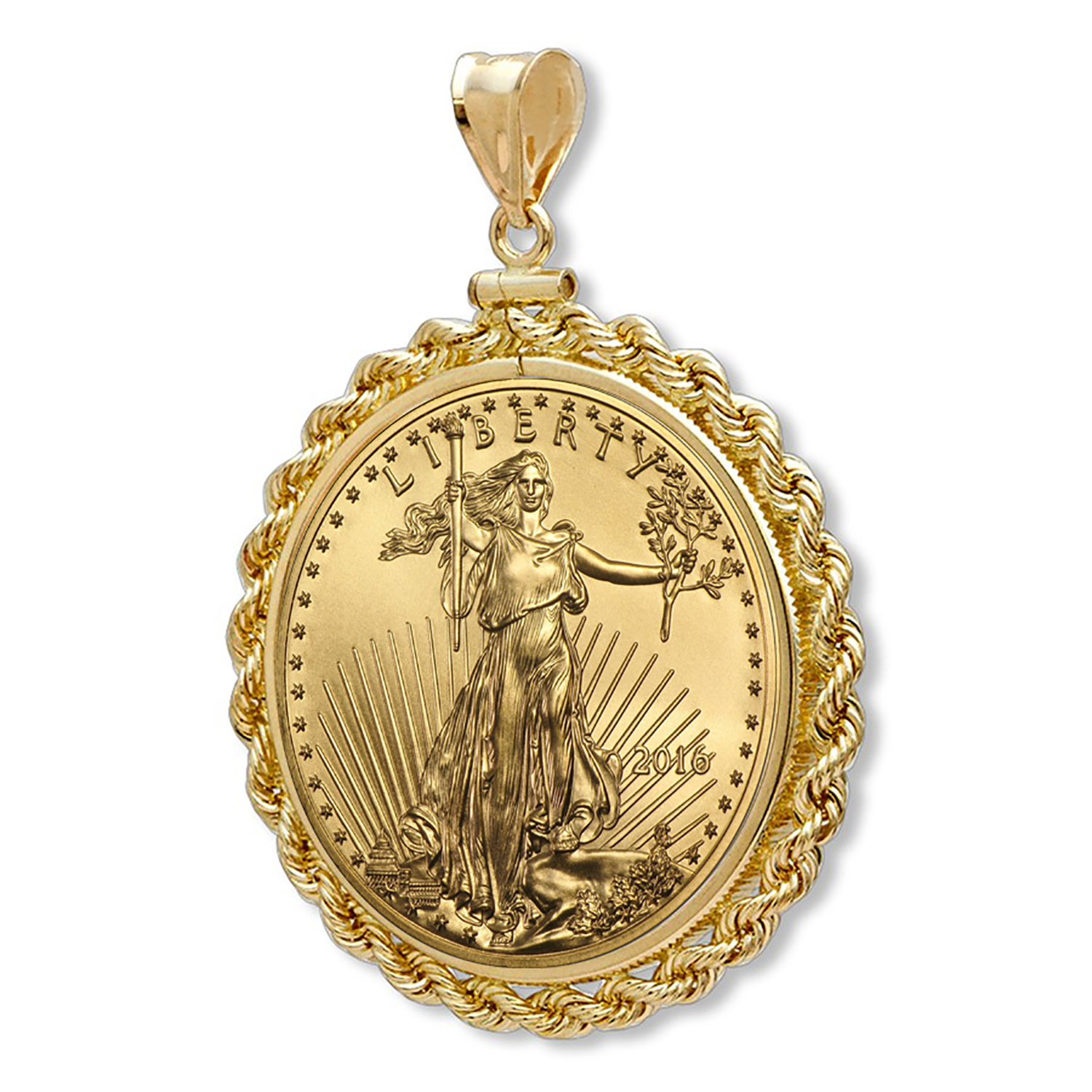 2016 1/10 oz Gold Eagle Pendant (Rope-ScrewTop Bezel)