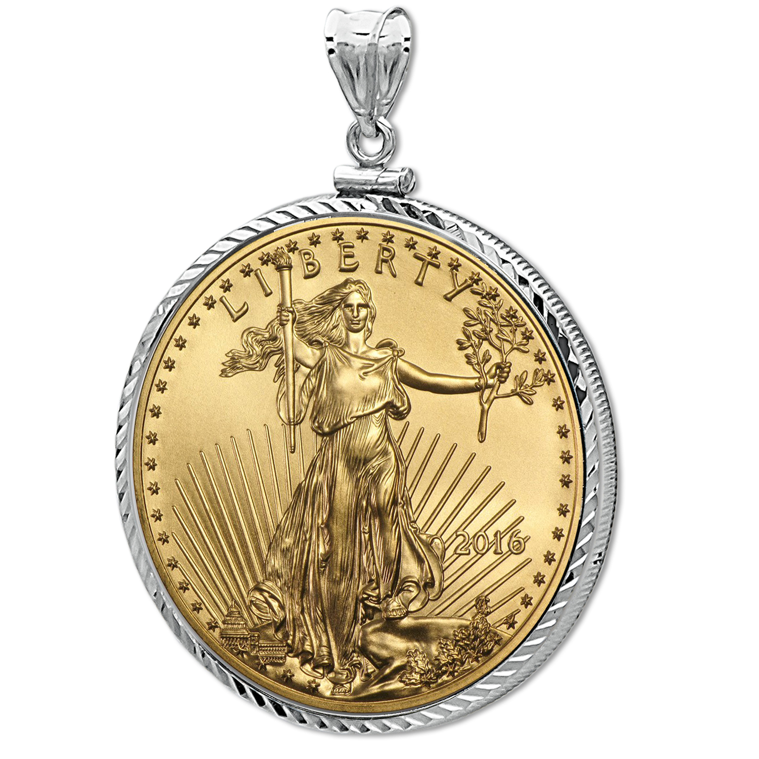 2016 1/10 oz Gold Eagle White Gold Pendant (Diamond-ScrewTop Bzl)