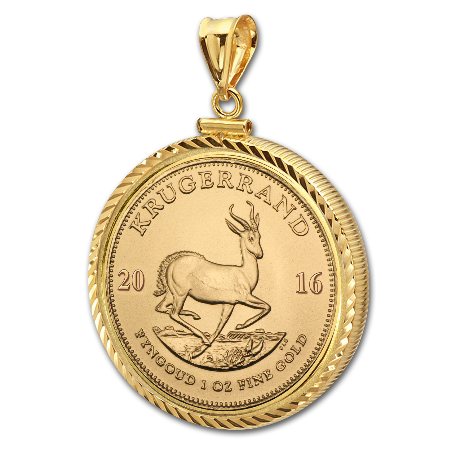 2016 1 oz Gold Krugerrand Pendant (Diamond-ScrewTop Bezel)