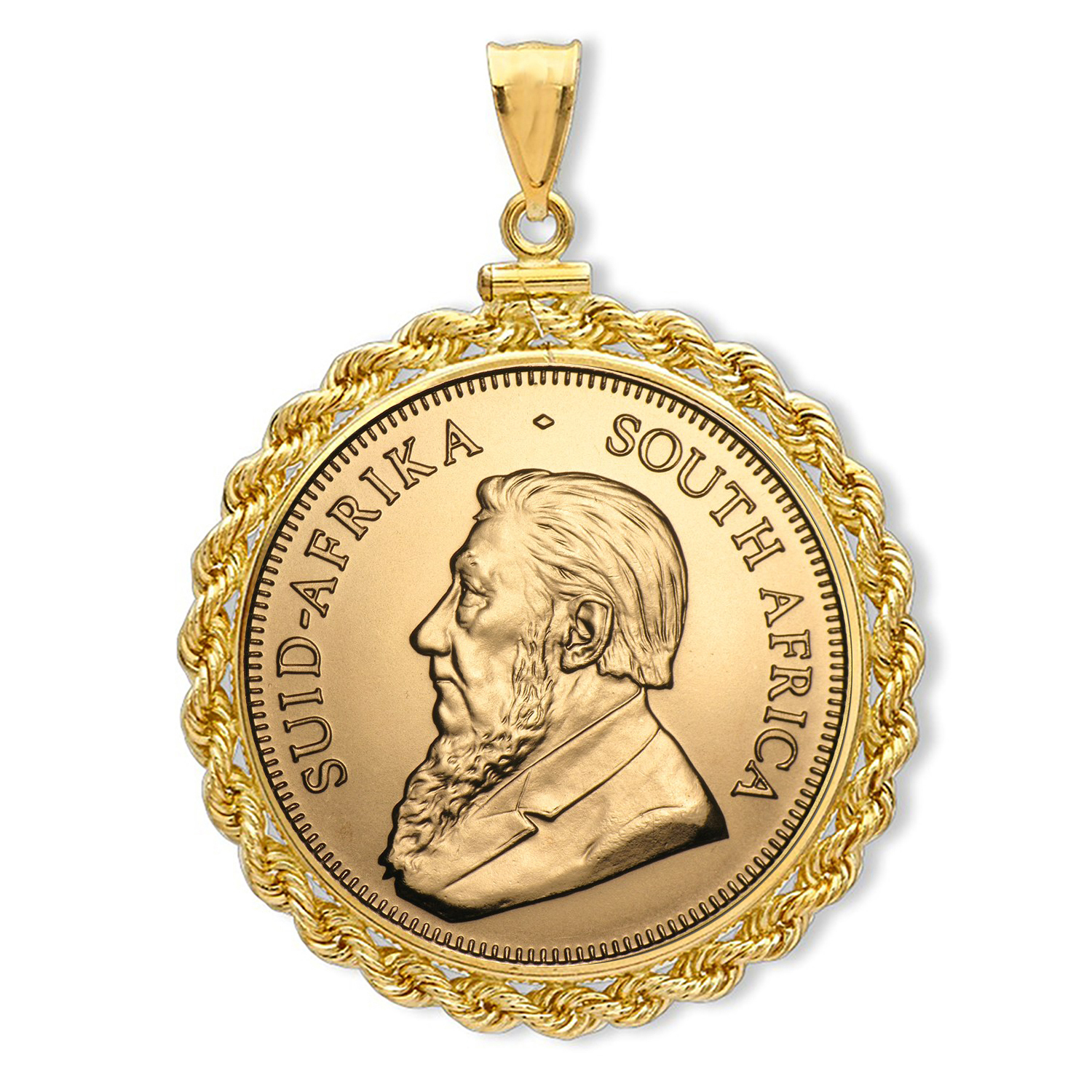 2016 1 oz Gold Krugerrand Pendant (Rope-ScrewTop Bezel)