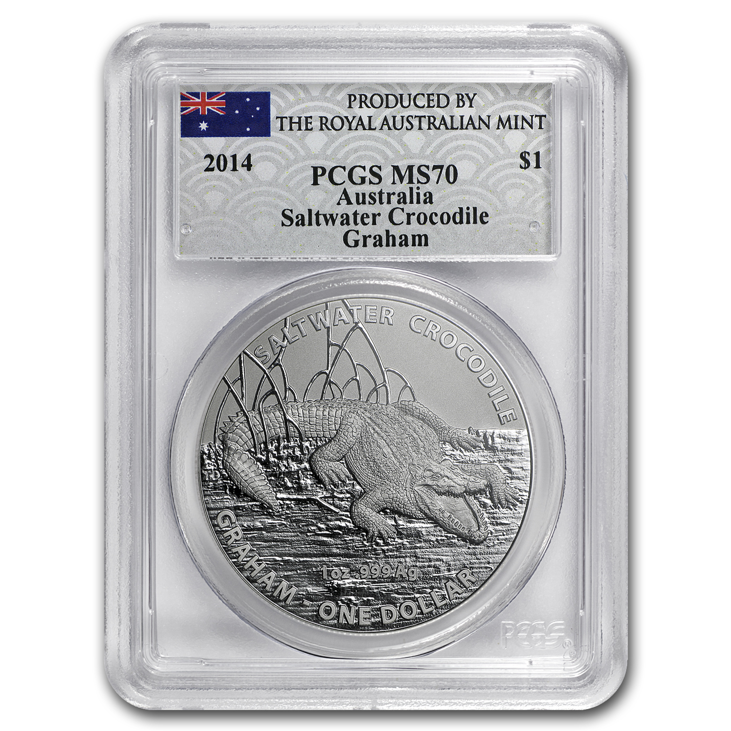 2014 1 oz Silver Australia Crocodile Graham MS-70 PGCS