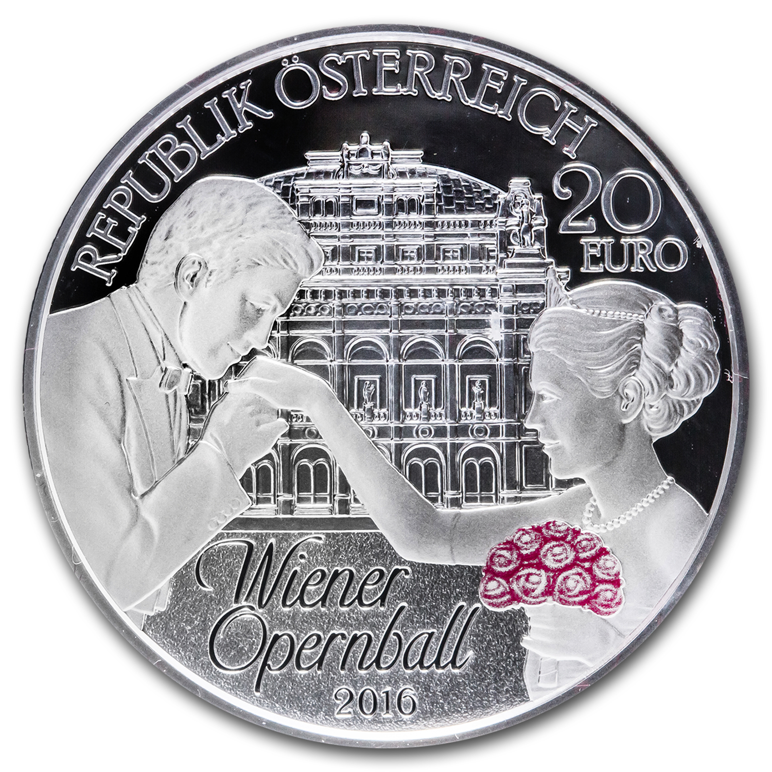2016 Austria Silver €20 The Vienna Opera Ball (Pink)