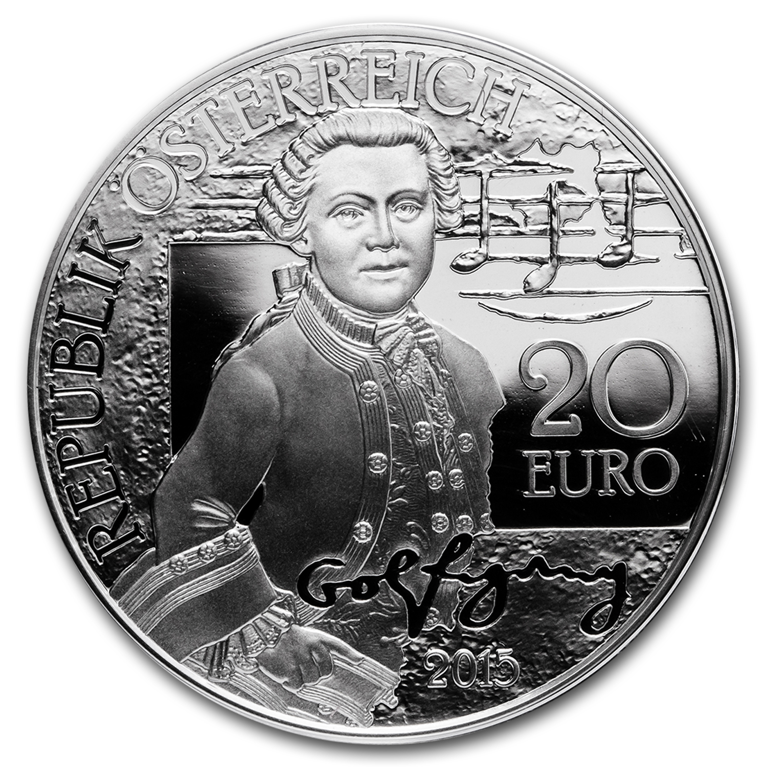 2015 Austria Silver €20 Mozart Proof Wolfgang (The Wunderkind)