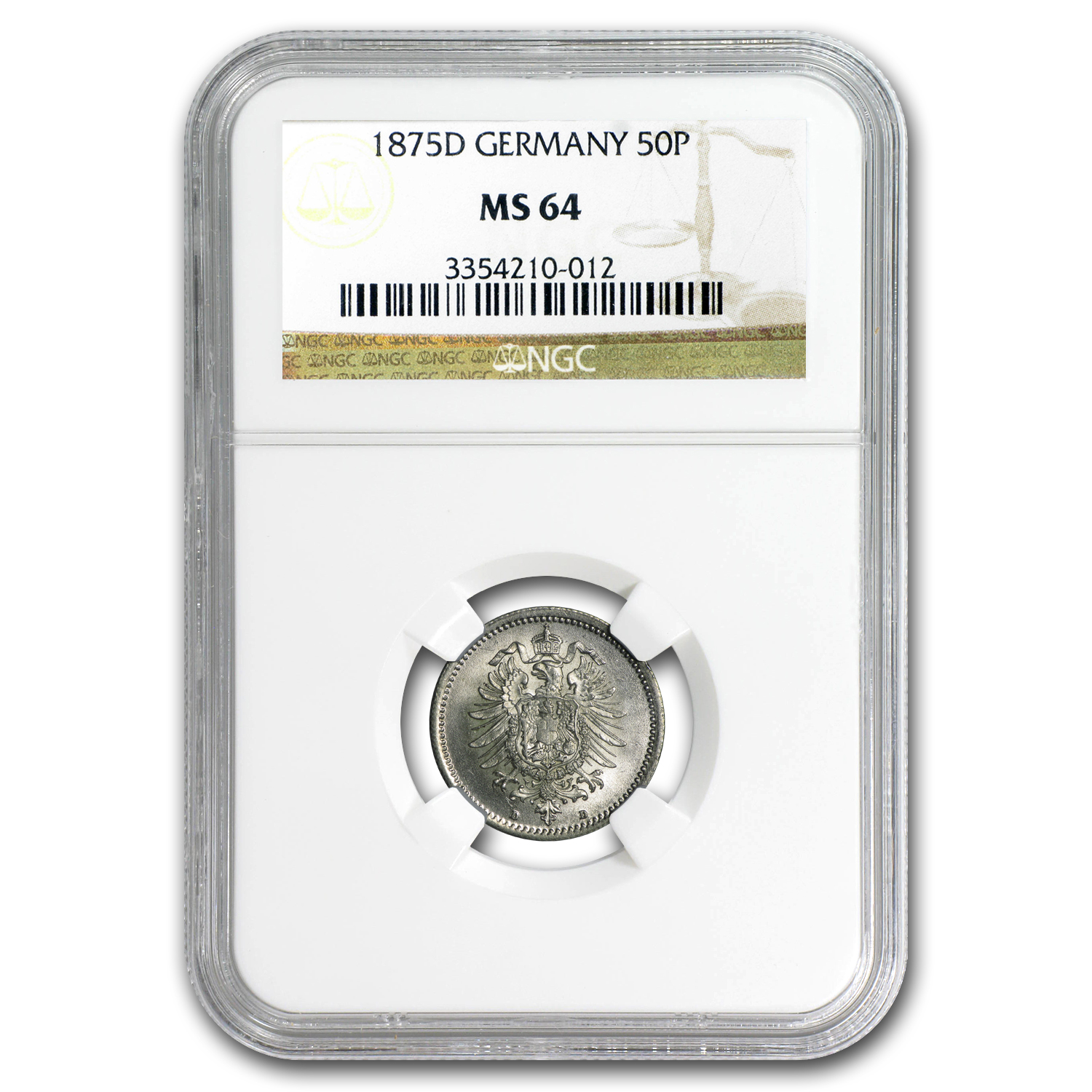 1875-D Germany Silver 50 Pfennig MS-64 NGC