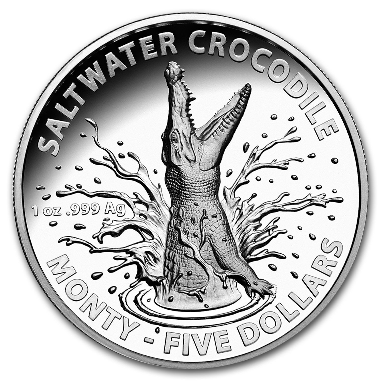 2016 Australia 1 oz Silver High Relief Salt Water Croc Monty