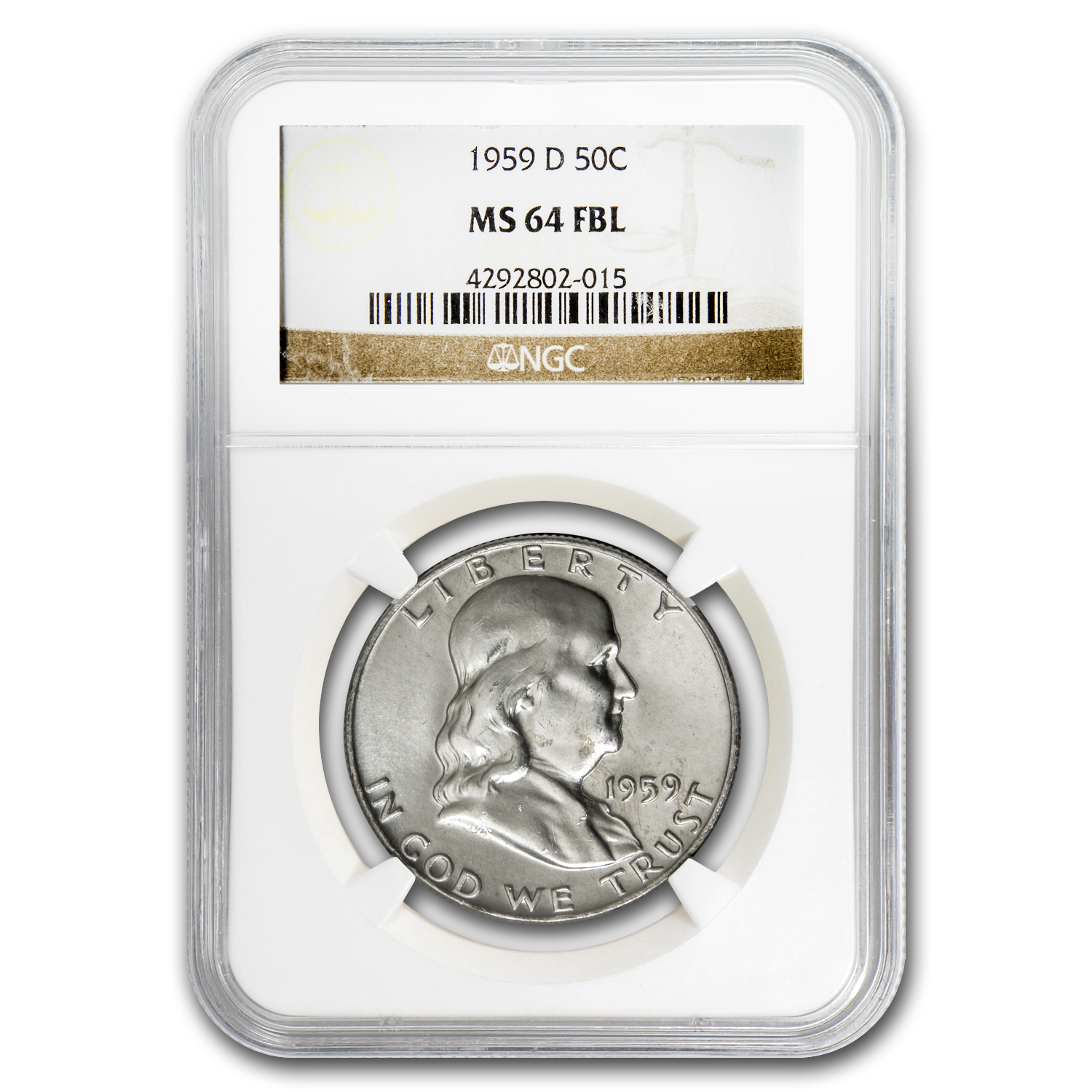 1959-D Franklin Half Dollar MS-64 NGC (FBL)
