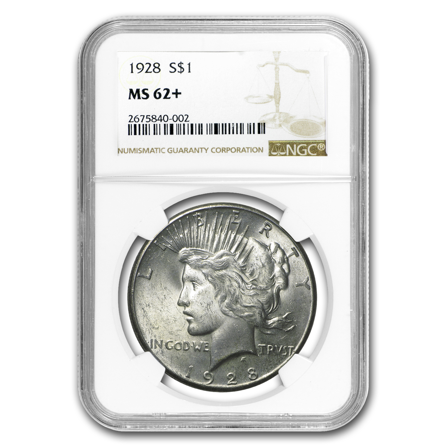 1928 Peace Dollar MS-62+ NGC (Key Date)