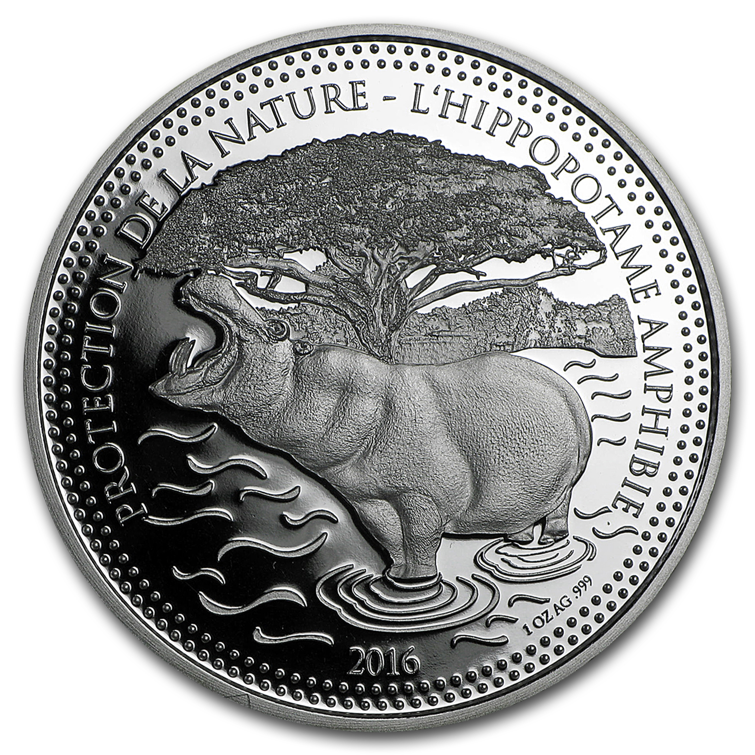 2016 Republic of Chad 1 oz Silver Protection De La Nature Hippo