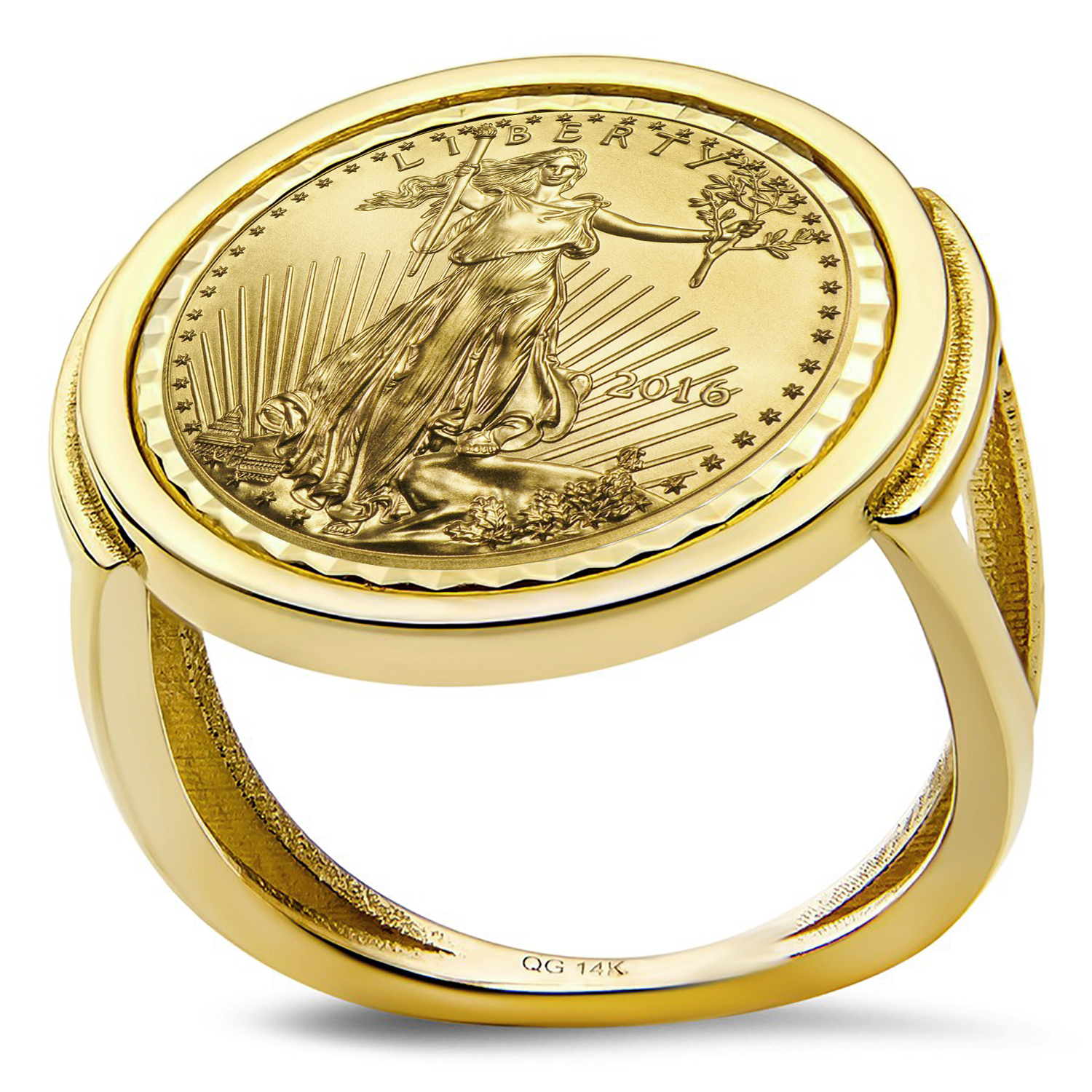 2016 1/10 oz Gold Eagle Ring (Diamond-Cut Polished-Prong)