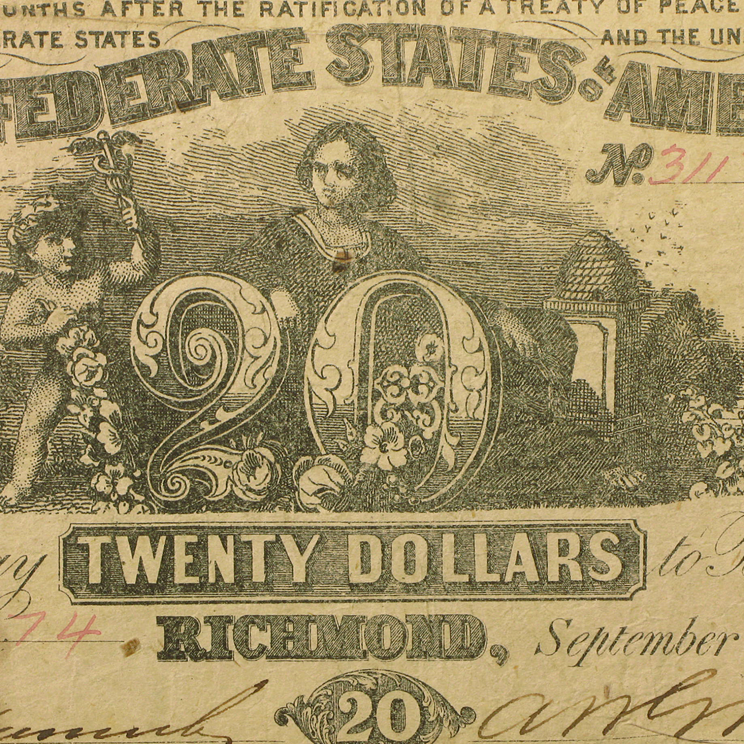 1861 $20.00 (T-20) Navigation & Beehive Fine
