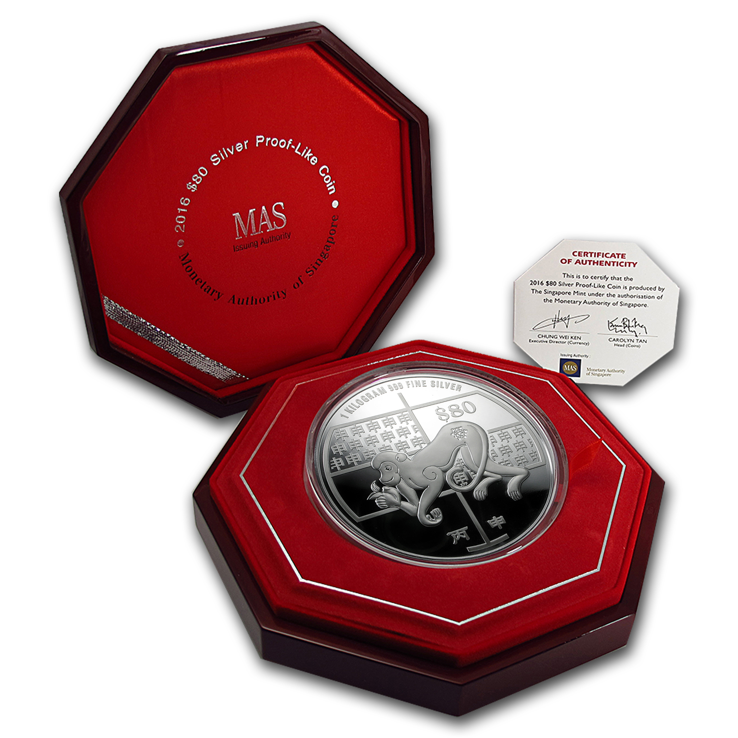 2016 Singapore 1 kilo Silver Year of the Monkey Proof-Like