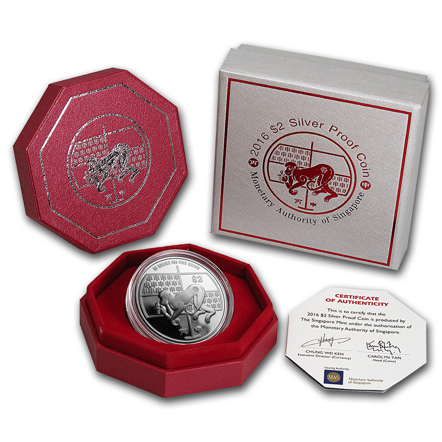 2016 Singapore 20 gram Proof Silver Lunar Year of the Monkey