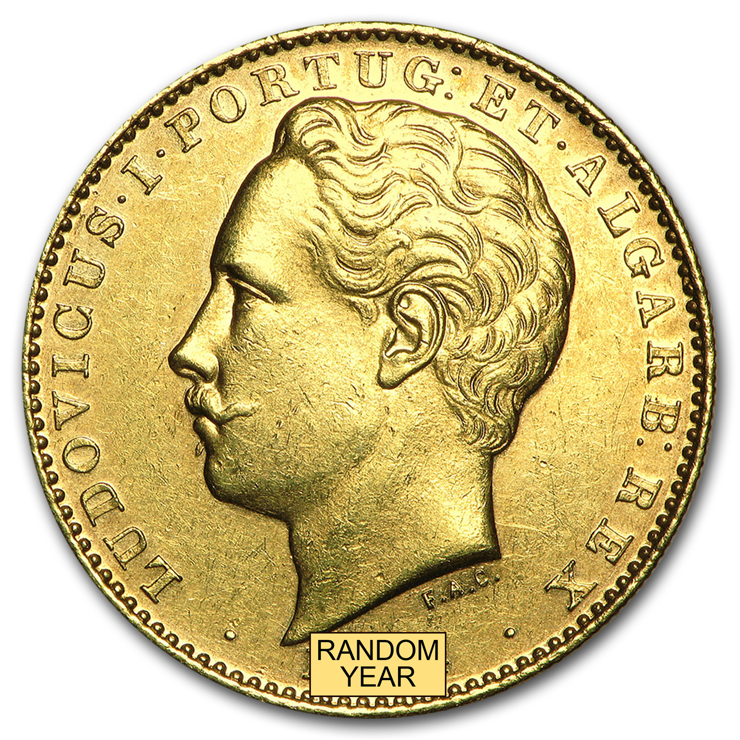 1878-1889 Portugal Gold 10,000 Reis King Luiz I Avg Circ