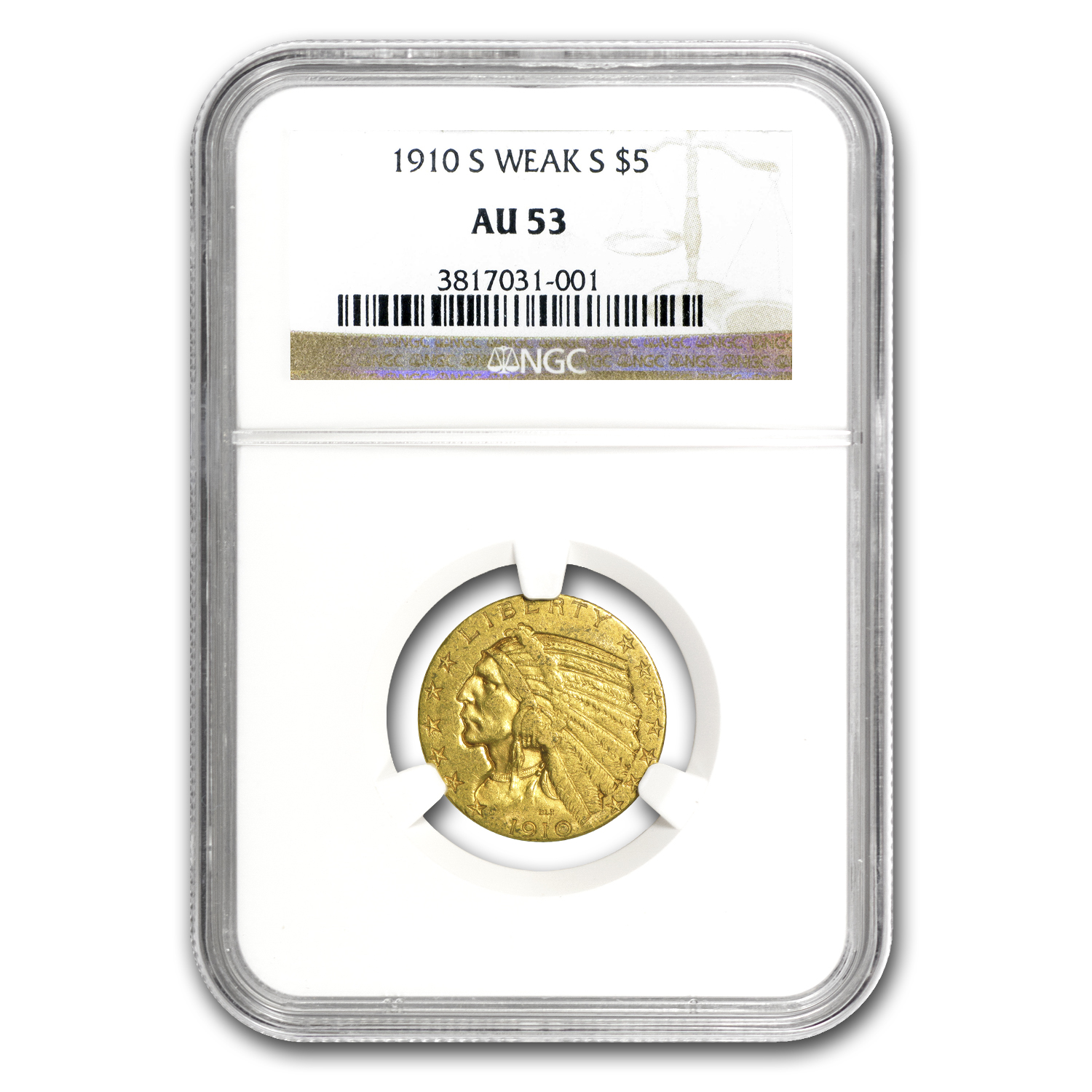 1910-S $5 Indian Gold Half Eagle AU-53 NGC (Weak S)
